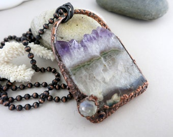 Amethyst Crystal Slice & Moonstone Necklace, Electroform Copper,  Rustic Modern Handmade Pendant and Chain