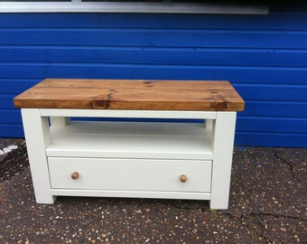 Chunky rustic reclaimed timber TV unit with draw Painted ***Easter Sale 10% Off***