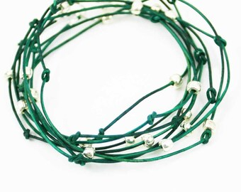 "Leather Wrap Bracelet Forest Green and Sliver ""Cameron"" Triple Wrap Leather Bracelet Sundance Jewelry"
