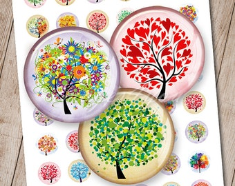 """Tree of Life 1"""" bottle cap images for pendant 1 inch circle Digital Collage Sheet cabochon 30mm 25mm 1.25"""" 1.5"""" round printable download art"""