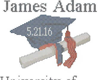 Commencement Cross Stitch Pattern/Graduation Cross Stitch Pattern/Cap and Diploma Cross Stitch Pattern/Modern Grad Cross Stitch Pattern/PDF