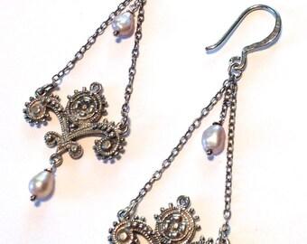 Ornate Long Drop Earrings Freshwater Pearls Sterling Silver Dramatic Dangles