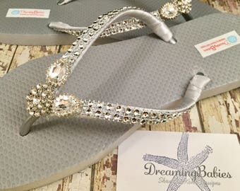 Diana Rhinestone Bridal Flip Flops, Wedding Flip Flops, Silver  Dancing Shoes, Silver Bridal Sandals, Silver Flip Flops, Beach Wedding Shoes