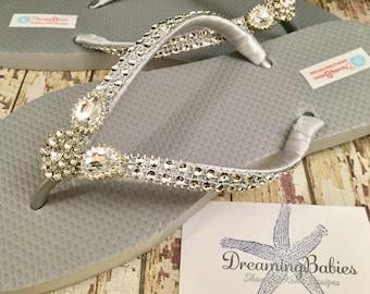 Diana Rhinestone Bridal Flip Flops, Wedding Flip Flops, Silver  Dancing Shoes, Silver Bridal Sandals, Silver Flip Flops, Beach Wedding Shoes