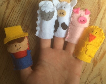 Old McDonald's farm finger puppet set