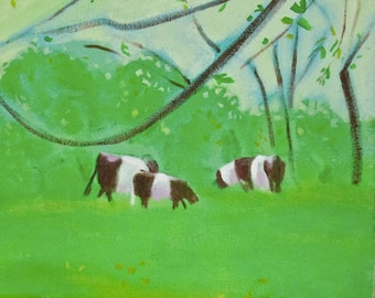 """Belted Cows in Spring Field 2017 16""""x16"""""""