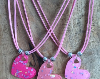 """Pink Glitter Sparkle Heart Necklace - """"I heart you"""""""