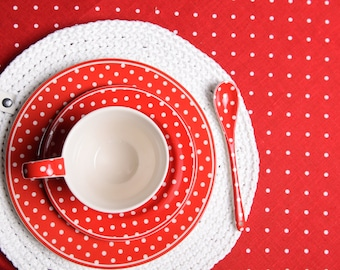 Linen table cloth polka dots, Red tablecloth, Mothers day gift, Dining room decor, Housewarming gift, Polka dot tablecloth, Foodie gift