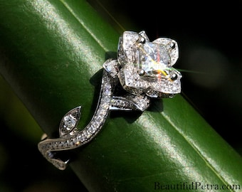 BLOOMING Work Of Art - Flower Rose Lotus Princess Cut Diamond Engagement Wedding Ring - 14K - brides - fL07 Beautiful Petra Patented design