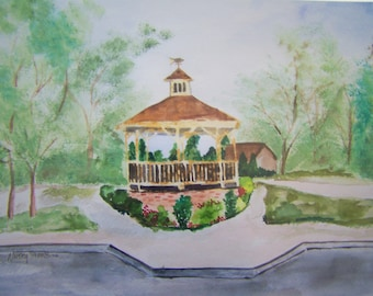 Cape May Gazebo Professional Print from Original Watercolor Painting, Wall Art