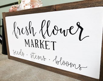 "Fresh Flower Market Framed Wood Sign 16.5""x9"""