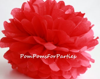 1 High Quality RED Tissue Pom Pom - Choose any of 50 colours - Hanging  Paper flower - Tissue paper balls - Tissue paper pom poms
