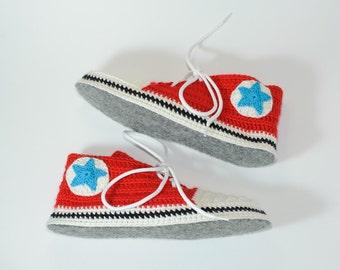 House slippers, Slipper socks, Red Women slippers, slippers for gift, Knit slippers, Unisex slippers