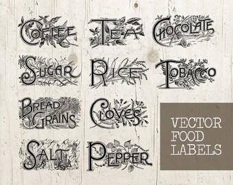 Digital Food Kitchen Labels - Antique Printable Labels - Digital Food Labels - Labels Sheet - Vintage Labels Printable - INSTANT DOWNLOAD