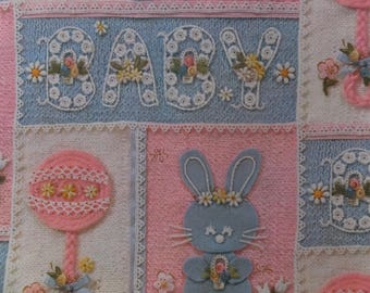 Vintage Embroidered Pink Blue Bunny Rabbit Rattle Baby Shower Gift Wrap Wrapping Paper