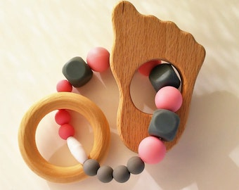 Teether for wood and silicone for babies-Wooden and silicone teether for babies-Baby Toys-Teething toys-necklace of Denticion-regalo babies