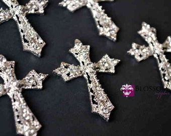 Flat Back Metal Rhinestone Cross Embellishments 27mmX35mm - Flower Centers - Wedding Bridal Prom Christening Baptism - Wholesale Supplies
