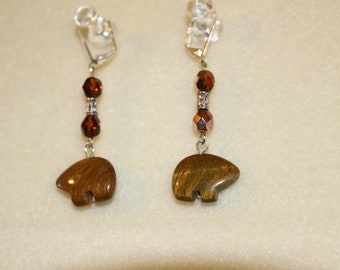 Tigers eye bear dangles