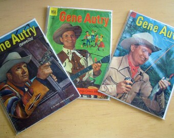 3 Lot Vintage Gene Autry Western Cowboy Comic Books DELL 1950-1953