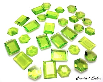 LIME EDIBLE SUGAR Jewels - Cupcake Toppers, Wedding Cake Decorations, Candy or Dessert Table, Sugar Gems, Featured in Brides Magazine