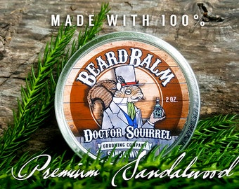 "Doctor Squirrel Grooming Co - Clay Beard Balm ""Sandalwood"" - All Natural NON GREASY - 2 ounce"