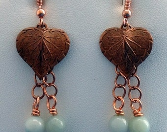 Copper heart shaped leaf earrings with Amazonite drops suspended on chain