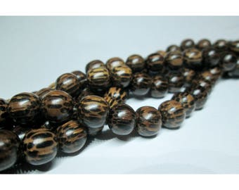15 wooden beads of coconut - 8 / 9mm - natural shades