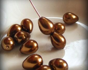 Glass Pearl Beads 7x5mm Teardrop Bronze (Qty 25) Z-7x5PT-BNZ