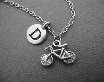 Bicycle Necklace, Bike Bangle Bracelet, Personalized Bicycle Keychain Keyring, Gift for Cyclist Bike Rider Biker Biking Riding, Silver Bike