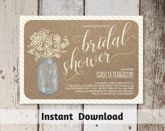 Printable Bridal Shower Invitation Template - Rustic Floral Baby Breath in Mason Jar on Kraft Background - Instant Download Digital File PDF