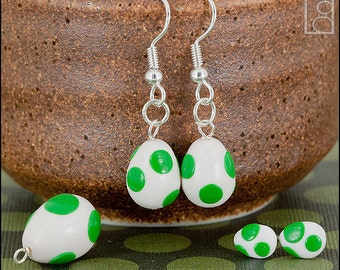 Mario Yoshi Egg Charm or Earrings (Made to Order)
