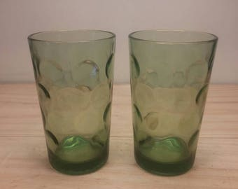 """Pair of Vintage Clear Green Juice Glasses made by Anchor Hocking with a slightly """"Bubbly"""" Design!"""