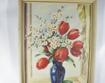 Vintage 1941 beautiful floral picture still life blue vase with red tulips and blossoms shabby chic floral romantic decor