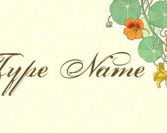 Art Deco Nasturtium Place Card Template