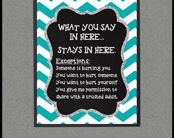 Teal Confidentiality Rules Sign, School Counselor Gifts, School Counseling Office Decor, What You Say In Here Stays in Here, Counselor Decor