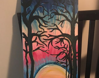 Sunset and Trees acrylic painting