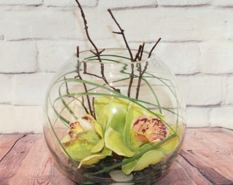 Cymbidium Orchid in Fish Bowl - Silk Flower Arrangement in Still Water