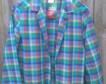 Vintage size 16 Plus Size Madras Check Lightweight Jacket 1980s