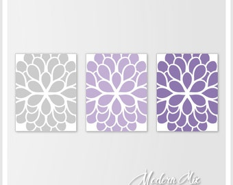 Purple and Gray Flower Wall art for bathroom, bedroom, girl room, nursery, Dahlia wall art, Lavender Bedroom Decor CANVAS or Prints set of 3