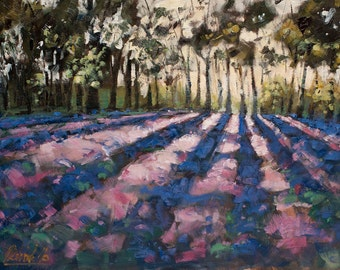 Purple Field - landscape, oil, painting, fine Art