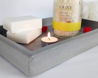 Concrete Valet Tray / Vanity Tray Bathroom / Bathroom Organization / Office Tray / Catchall Tray / Pocket Dump Tray / Nightstand Tray