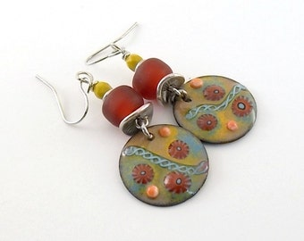 Handmade Red and Yellow Soutwestern Enameled Earrings, Silver Earrings, Yellow Earrings, Artisan Earrings,  Boho Earrings, Red, AE171