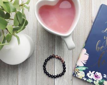 Rhodonite Bracelet,Faceted Agate,Black Pink Jewelry,Anti-Stress Bracelet,Calm Jewelry,Meditation Woman Men,Gypsy Bracelet,Bohemian Jewelry