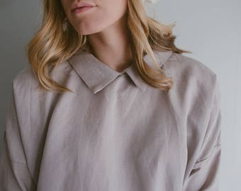 100% Linen Grey 3/4 sleeve Dress, hand made in London, sustainable, artisan, fashion