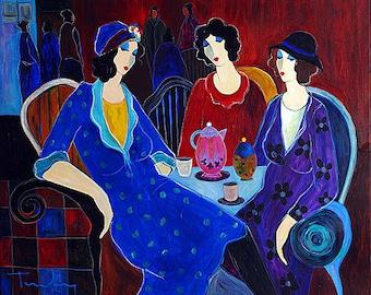 Acrylic on Canvas Original Signed Painting by Itzchak Tarkay Tea Plot