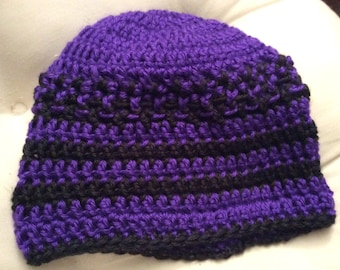 Crocheted Purple and black beanie hat