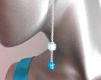 Extra long seed bead dangle earrings
