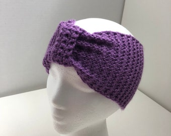 Girls Knit  Headwrap, Purple Headband, Ear Warmer, Fall,Winter, Christmas Gift, Gift For Her