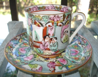 Demitasse Cup and Saucer Hand Painted in Hong Kong