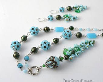 Forget me not beadwoven spring flower blue necklace & earrings set